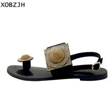 Купить с кэшбэком Luxury Women Summer Shoes Flat Sandals 2019 Rhinestone Ladies Leather Lace Up Sandals Slippers Shoes Woman Flip Flops Plus Size