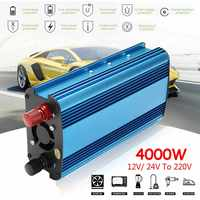 LED 12/24V DC to 220V 3000W/4000W Solar Power Inverter AC Pure Sine Wave Converter Built in Cooling Fan Manual Switch