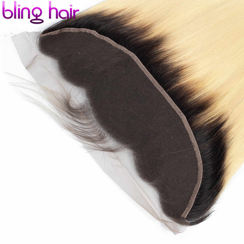 Pelo brillante encaje recto cierre Frontal pelo brasileño 13*4 medio/libre/tres Partes Remy cabello humano cierre 1b/613 Color rubio