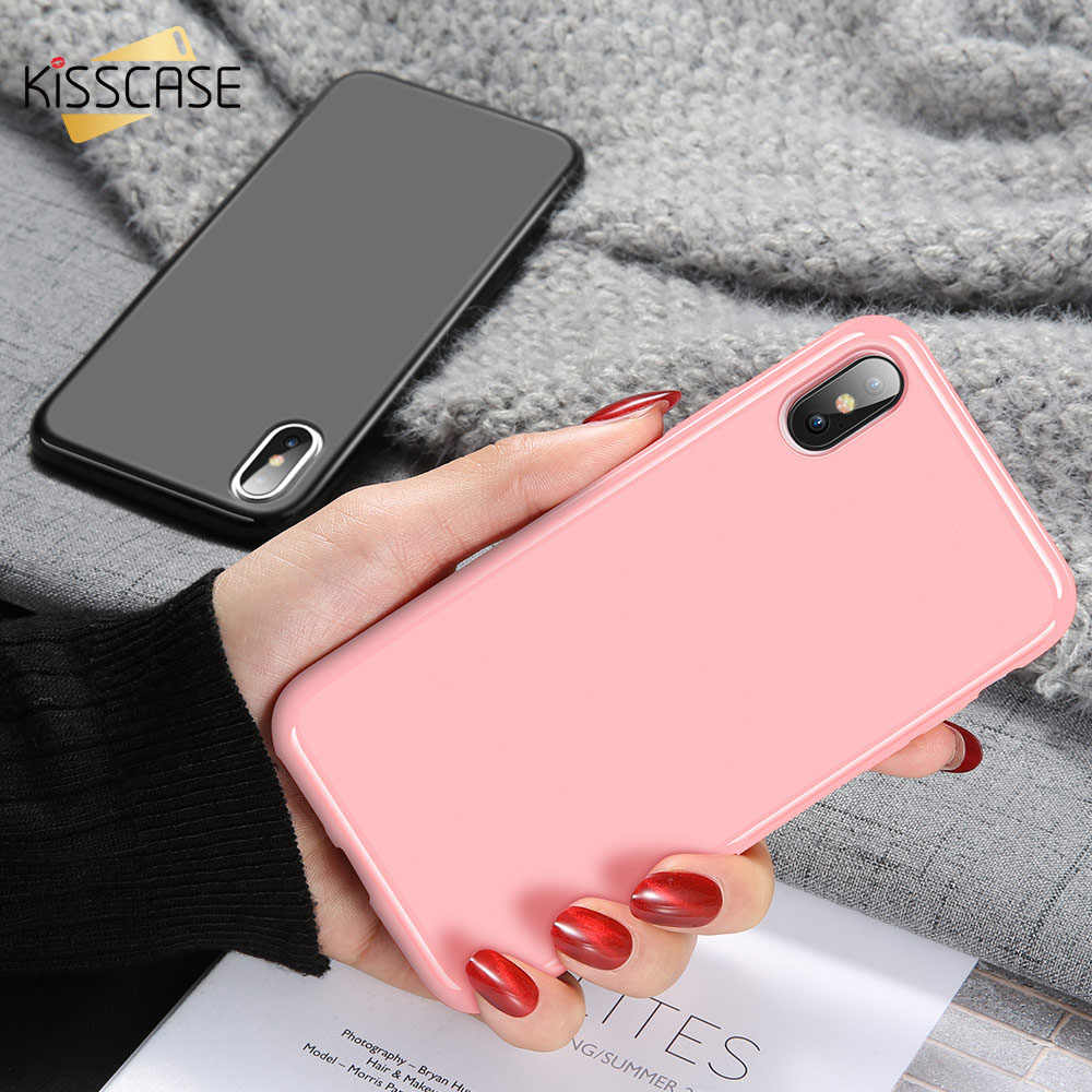 KISSCASE Phone Case For iPhone 8 7 6S 6 Plus XR XS Max X Simple Solid Color Cases For iPhone XR XS Max X 10 5S SE Silicon Cover