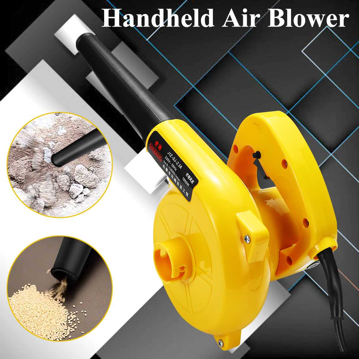 1050W Electric Handheld Air Blower Portable Computer Cleaner Electric Blower Vacuum Cleaning Leaf Collector Car Blow Suck Dust