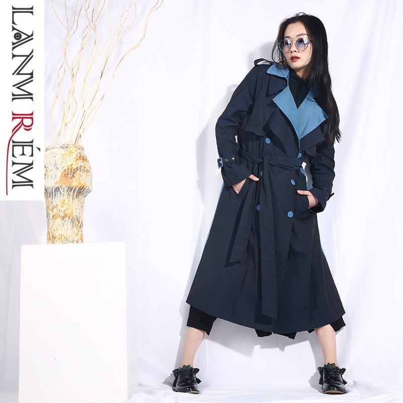 LANMREM 2019 Spring New Contrast Color Bouble Breasted Windbreaker With Belt For Women Long Coat Trench Fashion Clothing JO553