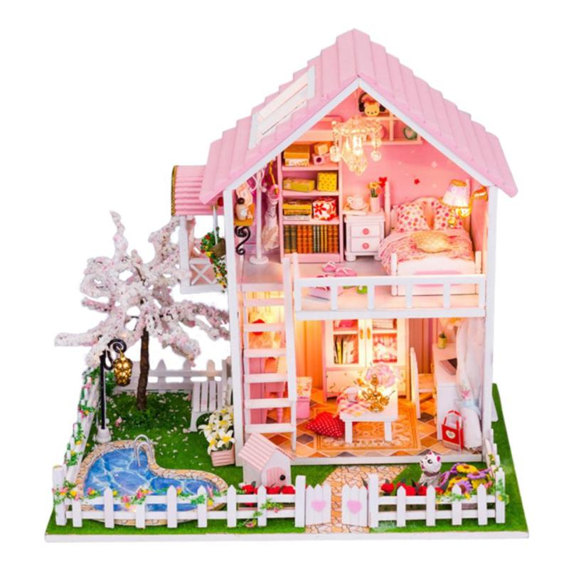 Cherry Tree Doll House Furniture DIY Miniature Dust Cover 3D Wood Dollhouse DIY Doll House Furniture Miniature Wooden 3D House-in Doll Houses from Toys & Hobbies on AliExpress - 11.11_Double 11_Singles' Day 1