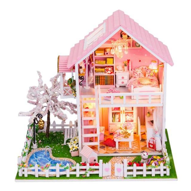 Cherry Tree Doll House Furniture DIY Miniature Dust Cover 3D Wood Dollhouse DIY Doll House Furniture Miniature Wooden 3D House