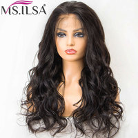 Body Wave Lace Front Human Hair Wigs For Women Natural Wave Brazilian 4 Inch Remy Lace Wig with Pre Plucked Baby Hair MS.ILSA