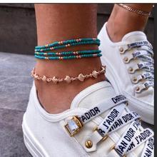 JCYMONG новые синие бусины ручной работы ножной браслет на ногу золотой цвет оболочки многослойные украшения для ног для женщин Пляжная бижутерия для ног
