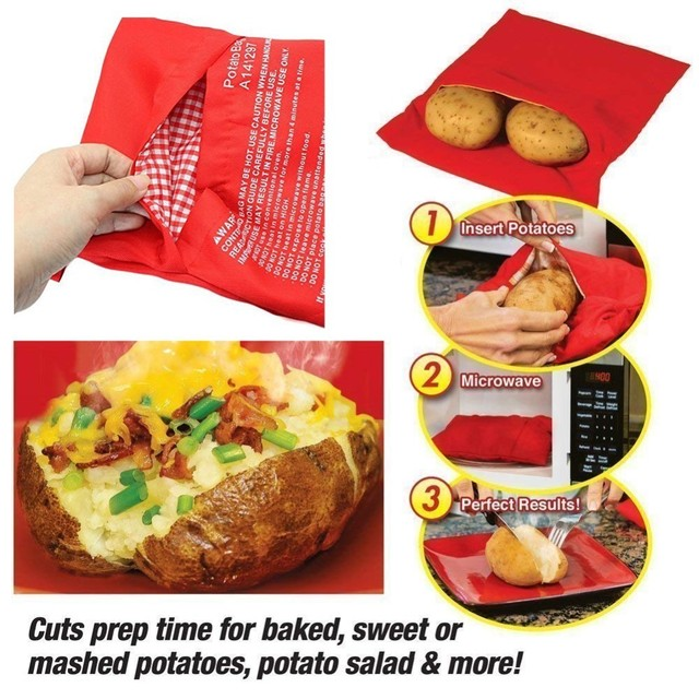 Microwave Baking Red Washable Cooker Bag Baked Potato Cooking Quick Fast Cooks 4 Potatoes At Once Eco Friendly