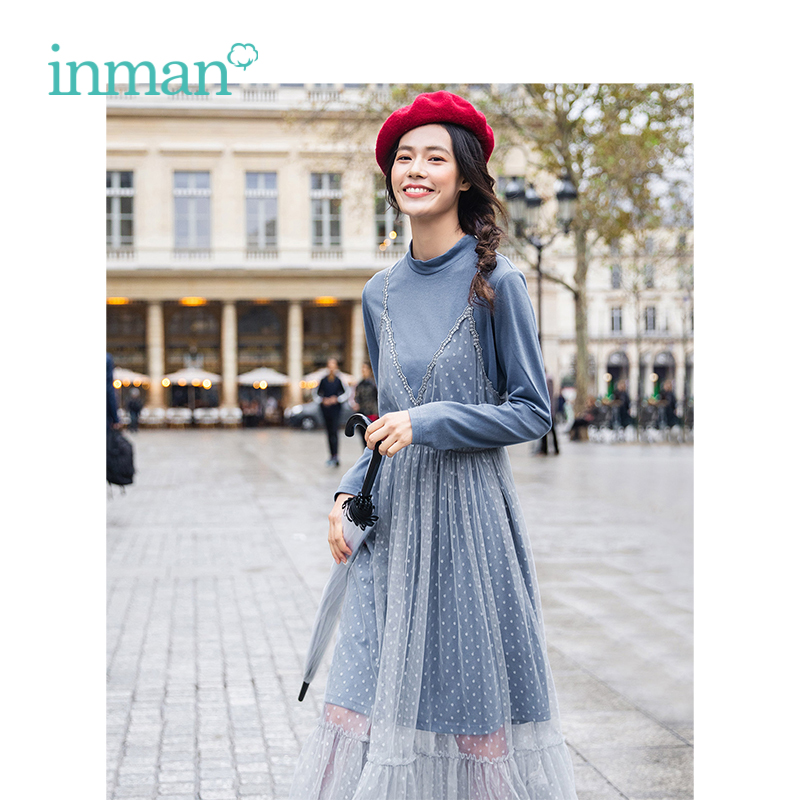 INMAN Spring Autumn Stand-up Collar All-match Slim A-line Dress And Lace Frenulum Women Twinset