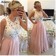 Xnxee Women Dresses 2019 New Arrival Beading Elegant Party Fashion Lace Chiffon Dress A-Line Empire Sexy Long