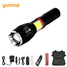 NEW Yunmai Multifunction Led Flashlight 8000 Lumens T6 Torch Hidden Cob Design Flashlight Tail Super Magnet Design Camping Lamp panyue multifunction led flashlight 8000 lumens xml t6 l2 torch hidden cob design flashlight tail super magnet design