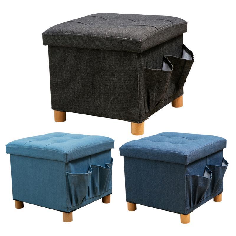 Waterproof Wood Storage Box: Denim Fabric Solid Wood Storage Box Four Footstool Sided