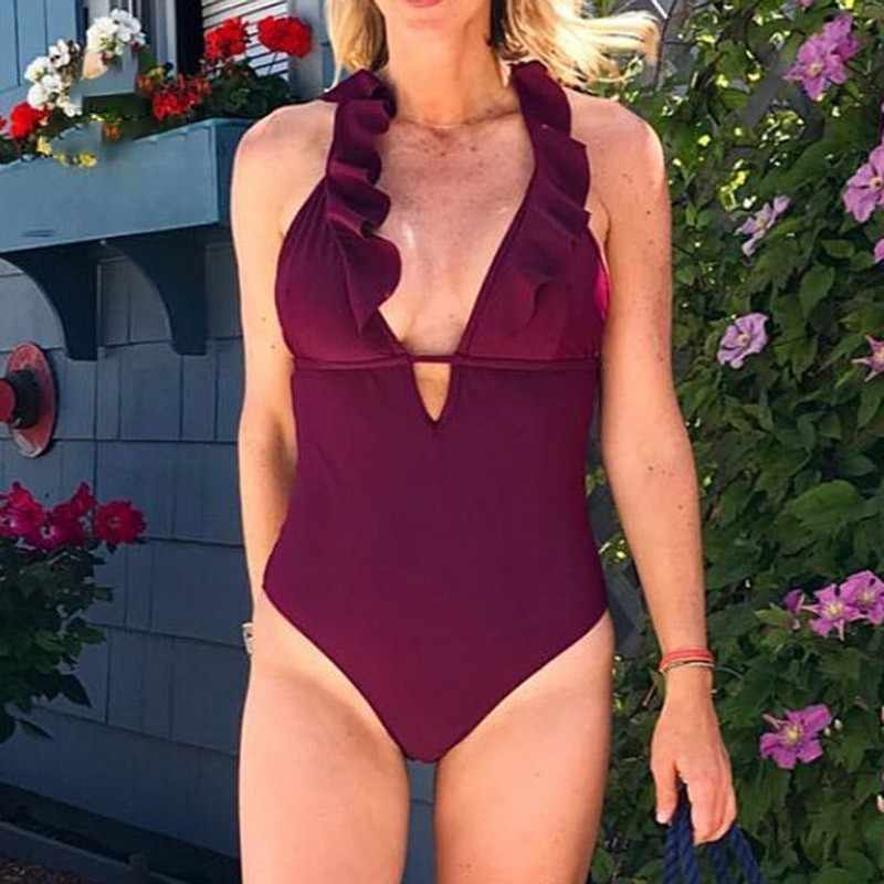 2d184d7dec0bc One-piece Swimsuit Women Burgundy Heart Attack Falbala Ruffle V-neck  Monokini 2019 New
