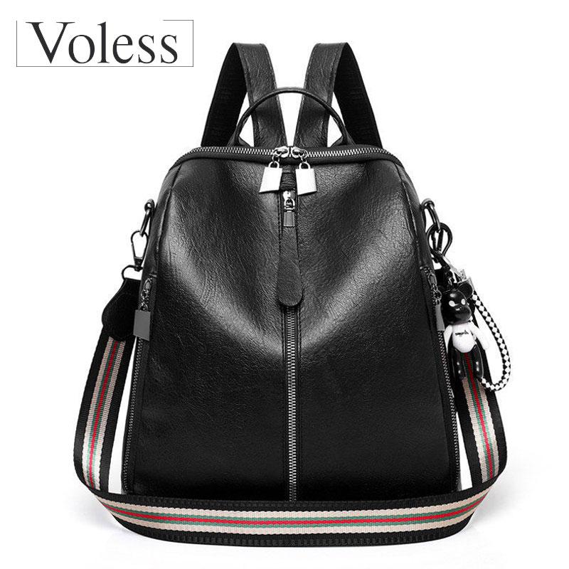 VOLESS Women Double Zipper Shoulder Travel Backpack High Quaity Nylon Fashion Bear Pendant Back Pack Bag For 2018
