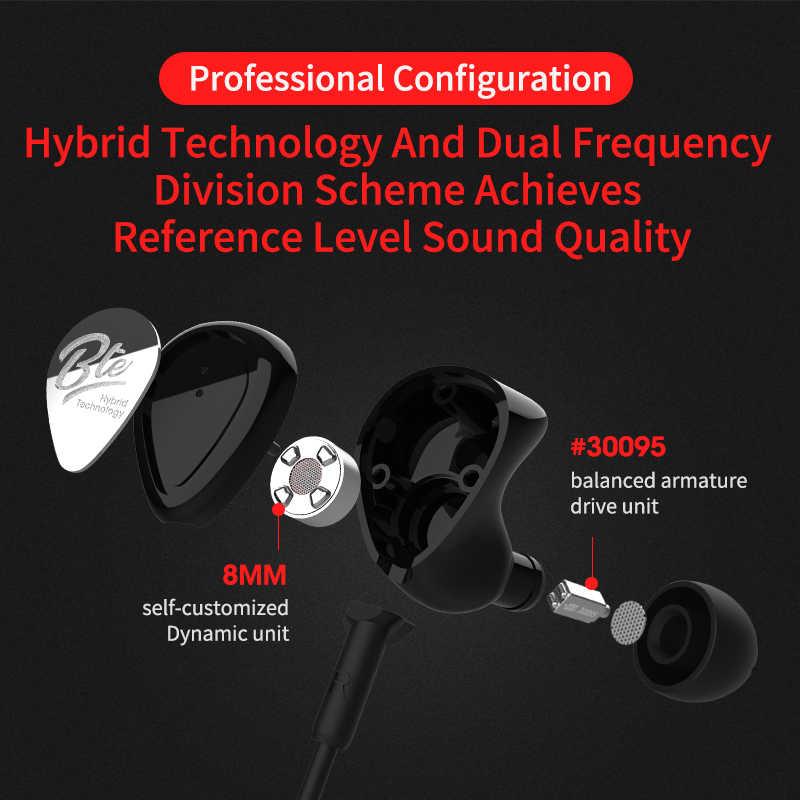 KZ BTE 1DD + 1BA Aptx гарнитура спортивные Bluetooth наушники/Беспроводная гарнитура Hifi бас наушники для телефонов и музыки