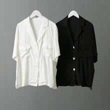 Tailored Collar Summer shirts Korean Style Women Blouse Double Pocket Design Vintage Short Sleeve Black White femme