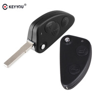 KEYYOU 2 3 Buttons key Shell Car Flip Remote key shell Fob Uncut SIP22 Blade For Alfa Romeo 147 156 166 GT Car Key