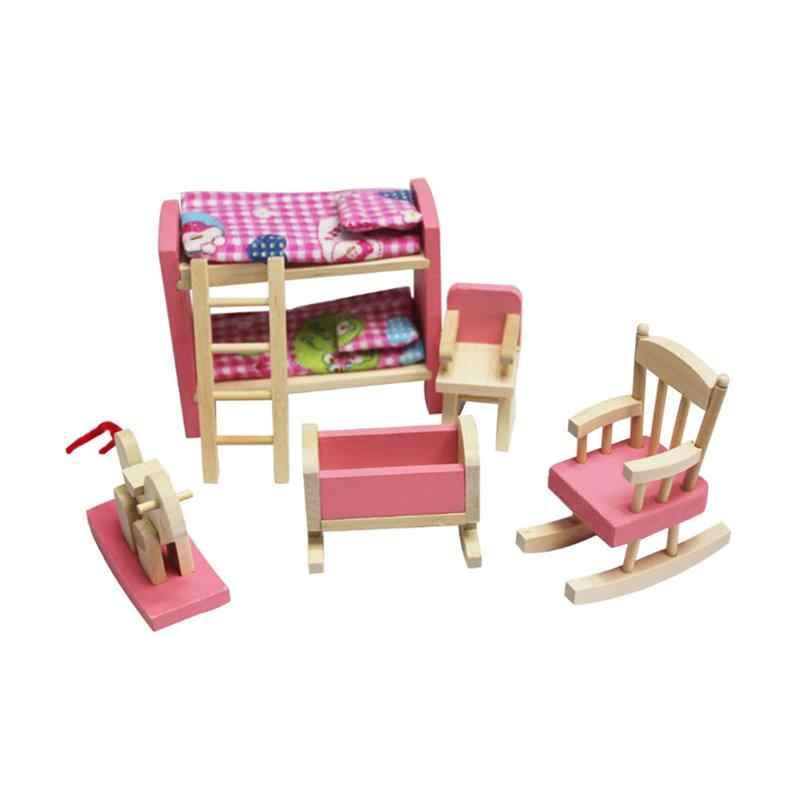 Деревянная розовая мебель игрушки кукла для спальни дом миниатюрная мебель детская комната набор ролевые игры дом игрушка для девочки подарок на день рождения