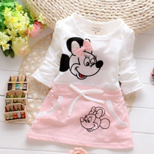 Baby Dress 2018 New Children Splicing Baby Dresses Long Sleeve Minnie Print Pattern Baby 100% Bure Cotton Dress