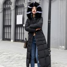 2019 FTLZZ 女性長綿パーカー偽毛皮の襟フード付きコート冬カジュアル入りのジャケットキルト雪のオーバーコート