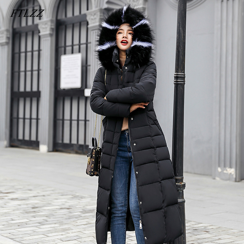 FTLZZ Women Long Cotton   Parkas   False Fur Collar Hooded Coat Winter Casual Slim Long Padded Jackets Wadded Snow Overcoat