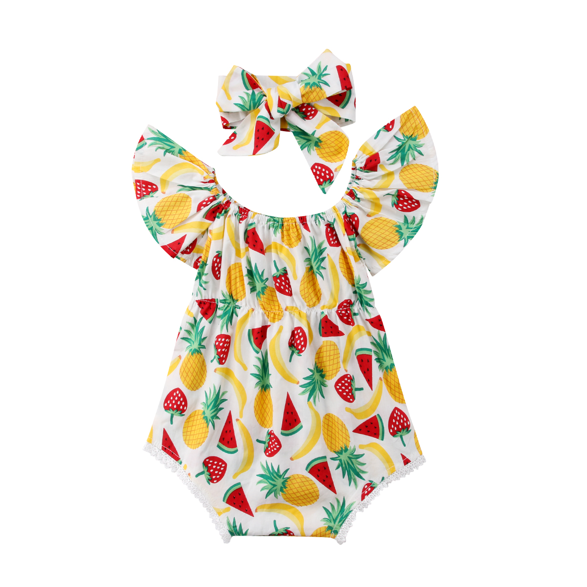 2PCS Summer Baby Girls Clothes Pineapple Strawberry Fruit Print Ruffle Sleeveless   Romper   Headband Outfits