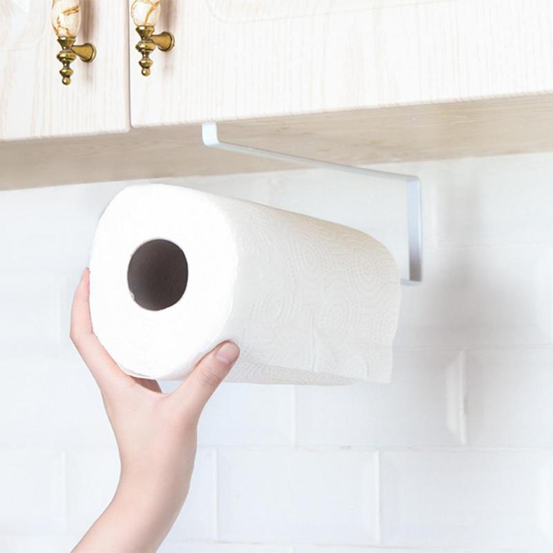 Kitchen Paper Towel Sundries Storage Hook Type Rack Holder Home Organizer Cupboard Paper Towel Rack Free Drilling Save Place