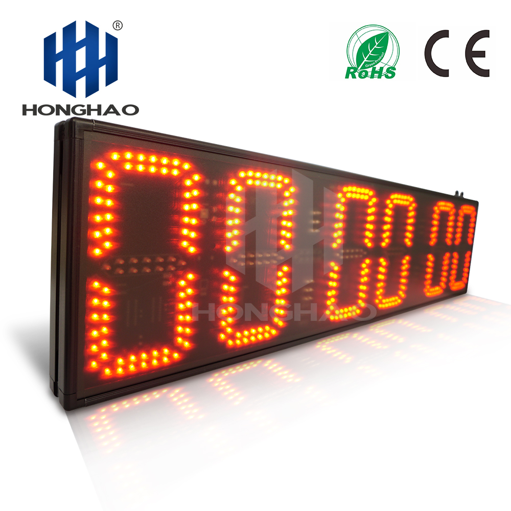 Honghao Red LED 8 39 39 6 Digit Hot Sale Single side Led Not Waterproof Outdoor Race Timer Clock in Wall Clocks from Home amp Garden