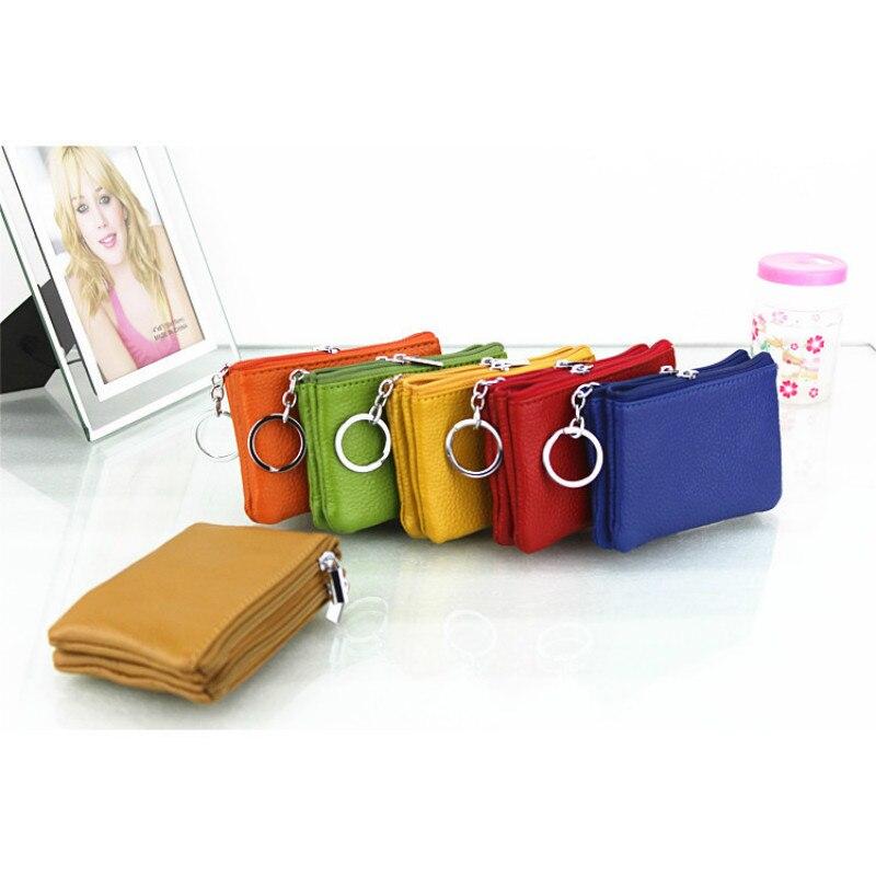 2018 Echte Echtem Leder Kurze Brieftasche Mini Doppel-reißverschluss Weiche Schlüssel Taschen Geldbörse Geschenk Für Geld Tasche Dünnen Keychain Brieftaschen