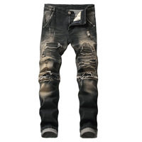 2019 Men Ripped Jeans Mens Hollow Out Printed Beggar Pants Man Cowboys Demin Pants Male High Street Motorcycle Biker Jeans 42