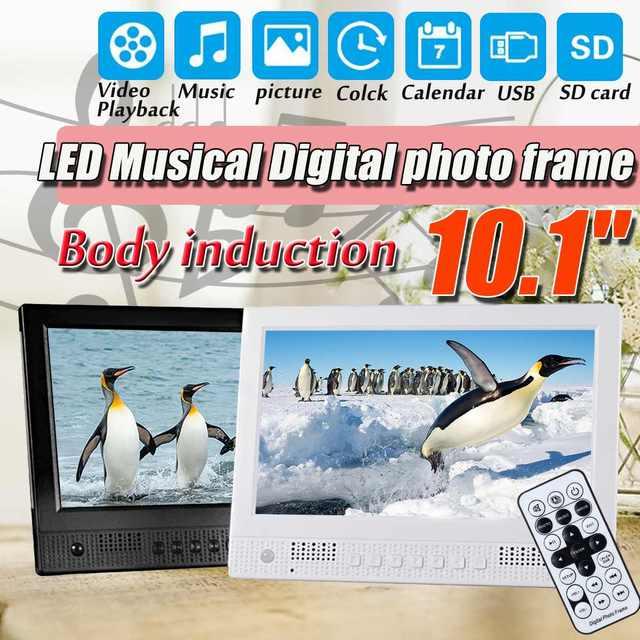 "10.1"" Digital Photo Frame Musical Video Picture Calendar Clock LED Light HD Electronic Album w/Human Body Induction US/EU Plug"