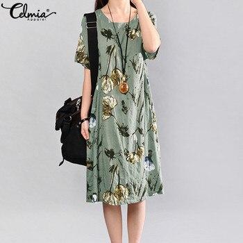 5639998ccc8d Celmia 2019 Vintage vestido de verano de manga corta suelta mujer elegante  Floral estampado Midi Vestidos Casual fiesta playa Vestidos