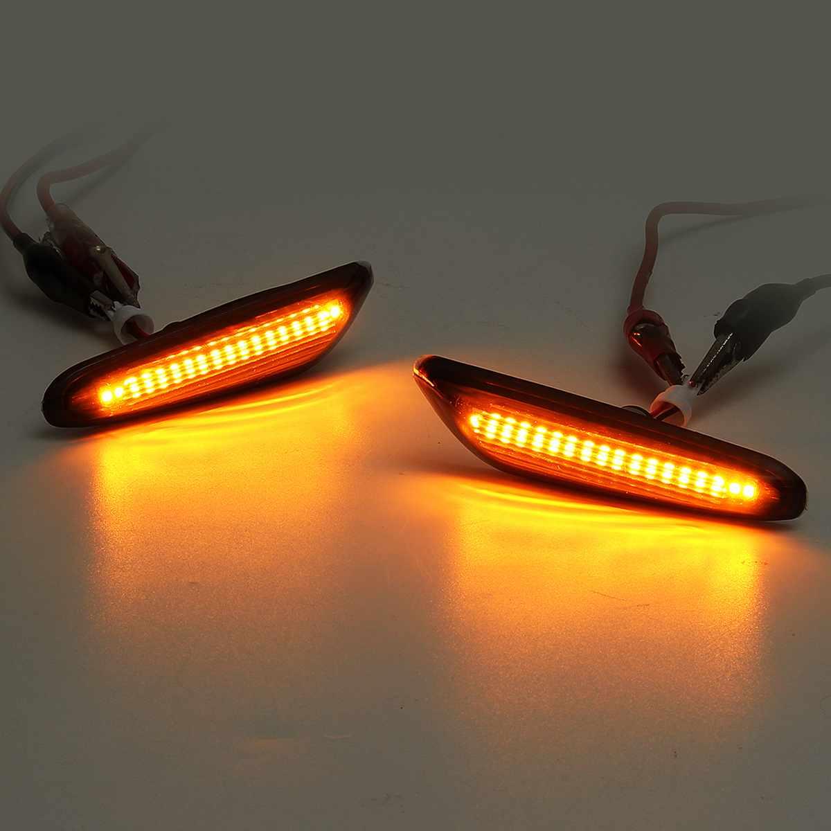 LED Side Marker Light for BMW,1Pair Amber LED Turn Signal Light Lamp Cover Replacement For BMW E82 E88 E46 E60 E61 E90 E91 E92