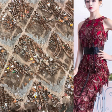 1Yard Upscale African Net Sequins Embroidered Lace Tissu French Tulle Wedding Nigeria Fabric Dress DIY Accessories 91*130cm