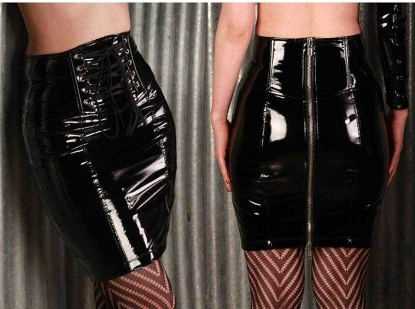 Vocole Women High Waist Zipper Black PVC Leather Mini Skirt Gothic Pole Dance Skirt