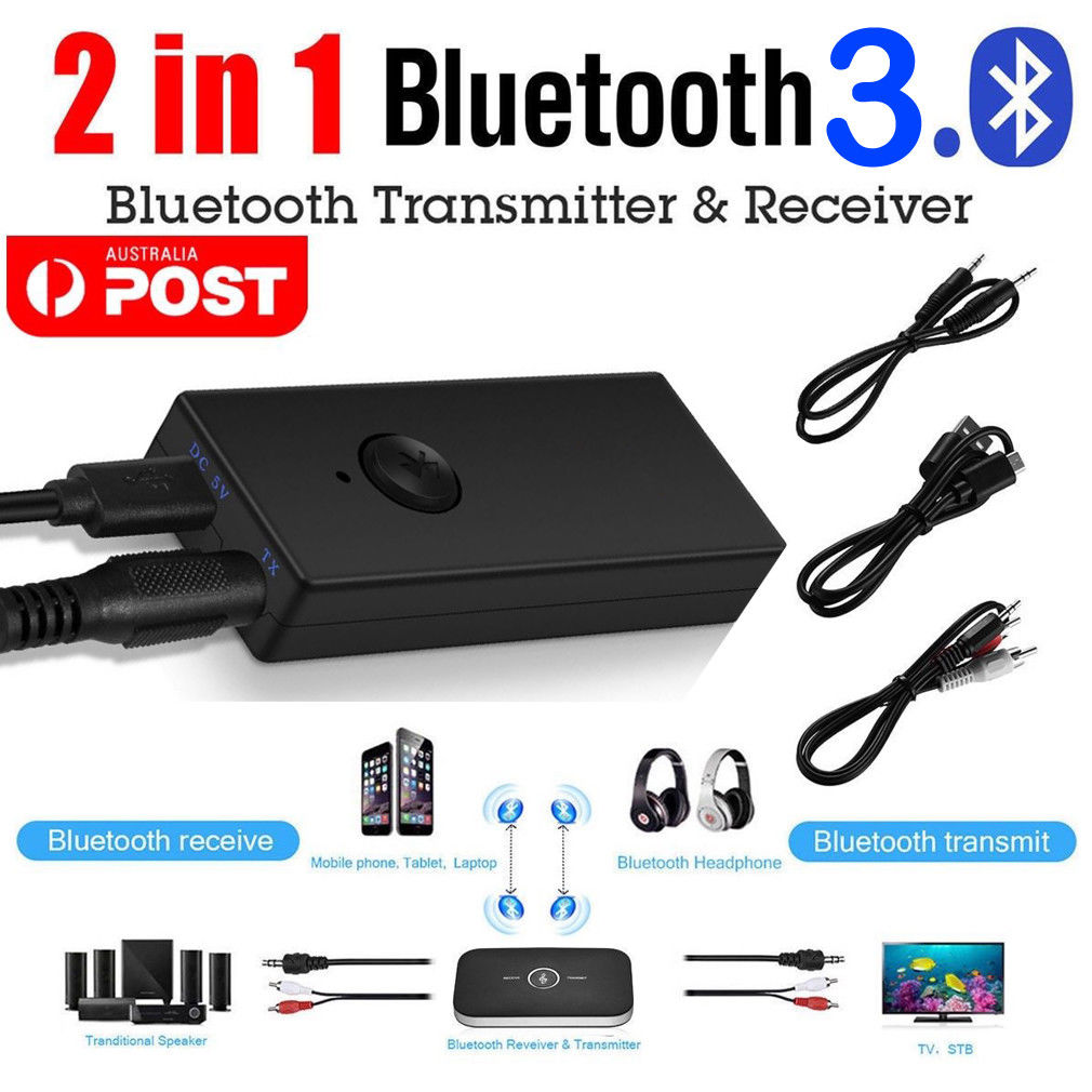 2 IN 1 Bluetooth Audio Transmitter /&Receiver 3.5mm RCA TV Speaker Stereo Adapter
