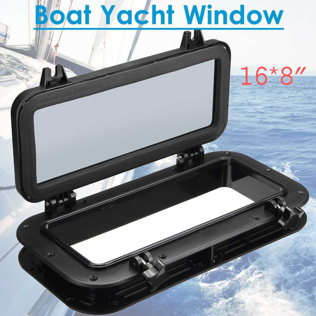Black Rectangular Boat Ship Yacht Car Replacement Porthole Waterproof Rubber Seal Skylight Cover RV Window Parts