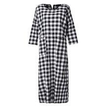 2019 ZANZEA Women Long Maxi Dress Spring Plaid Casual 3/4 Sleeve Long Vestido Baggy Pockets Ladies Dresses Robe Femme Plus Size цены