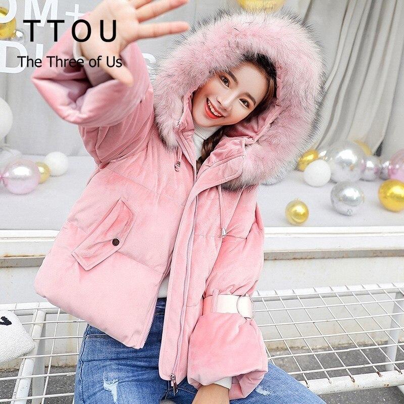 TTOU Fashion Short Relvet Jacket Women Winter Hooded Coat Faux Fur Thick Warm Outerwear   Parka   Female Cotton Padded Tops Harajuku