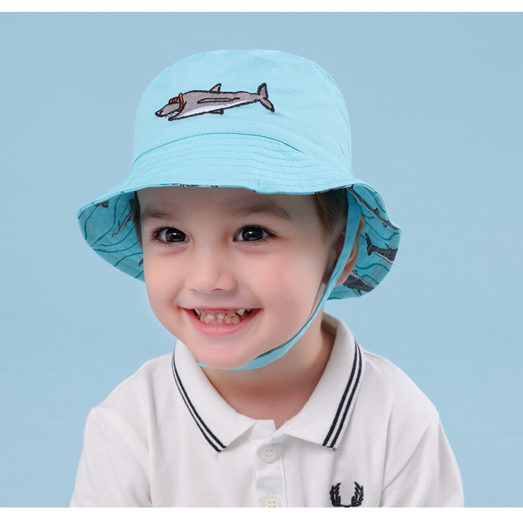 Kids Baby Boys Dinosaur Reversible Bucket Cotton Hat w// Wide Brim  *Size 1-2