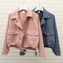 5 Colors Autumn Women Girls Fashion Outerwear Jacket Pocket Casual Cropped Jacket Loose Solid Jacket Coat недорого