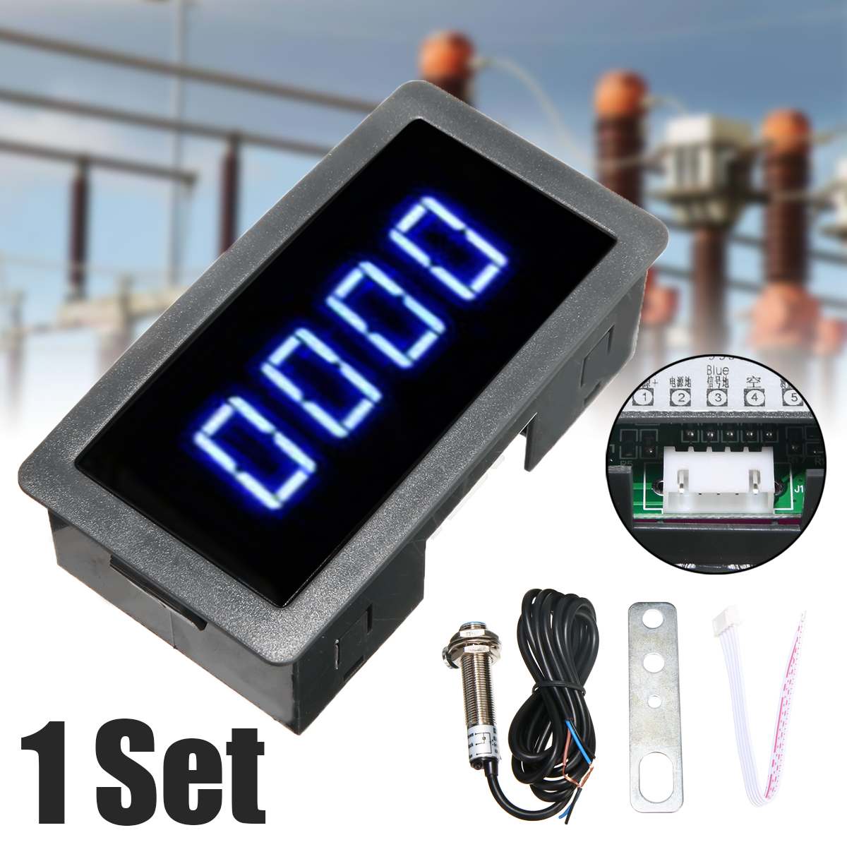 1set High Accuracy Blue 4 Digital Led Display Tachometer Rpm Speed Meter + Hall Proximity Switch Sensor 12v 30ma Good For Energy And The Spleen