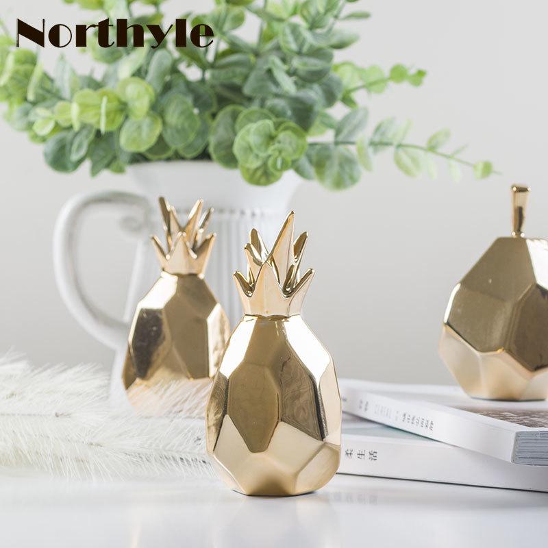 estatuilla de cerámica de piña dorada porcelana pera para regalo de - Decoración del hogar - foto 1