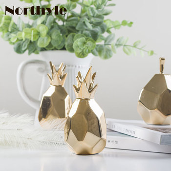 golden ceramic pineapple figurine porcelain Pear for christmas gift Miniatures home decoration accessories terrarium figurine