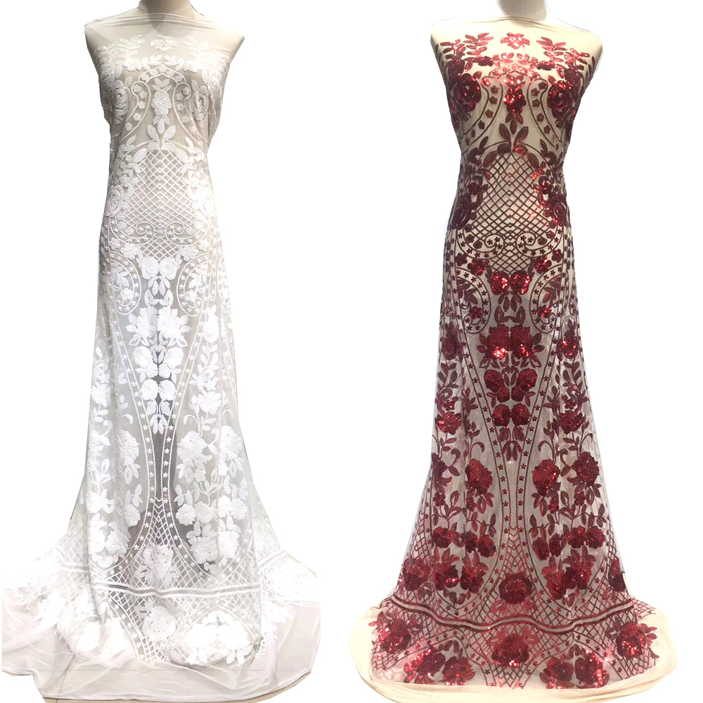 African Fabric Lace Nigerian Lace Fabric white Sequins 2019 High Quality Embroidered Mesh Fabric Red White