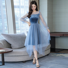 2019 Spring dress woman new womens summer clothes fashion sweet fairy gauze lady party O neck blue