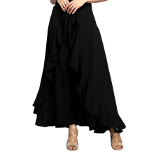 цена на Wrap Skirts For Women Casual Fashion Navy Chiffon Tie-Waist Ruffle Wide Leg Loose Pants Solid Color Wide Leg Pants
