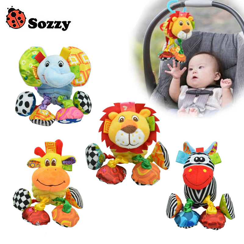 Sozzy Baby Soft Rattle Speelgoed Toy Cute Animals Cartoon Figure For 0-12 Months Development Bells Ringing Hand-held Toy Gift