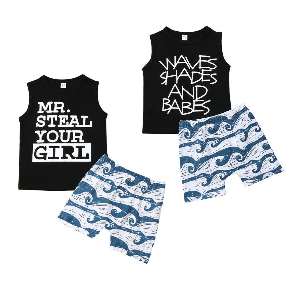 Methodisch Pudcoco 2019 Sommer Neugeborenen Kleinkind Baby Junge Ärmellose Buchstaben Kleidung Weste Tops + Wellen Druck Shorts Outfit Set