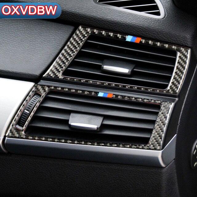 Acessórios do carro Carro De Fibra De Carbono Tomada Condicionado Quadro Decoração de Volta para bmw e70 e71 X5 X6 AC Vents Guarnição Revisa adesivos