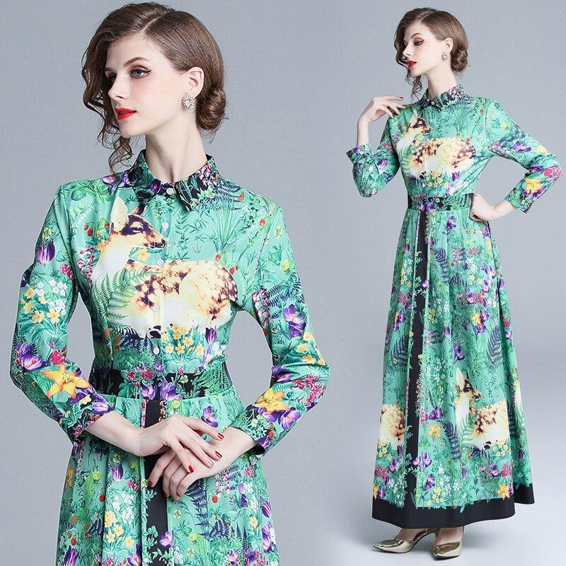 Manches Longue Revers Piste Vintage Imprimer Robe Qualité Femmes Robes Palais Chemise 2018 Longues Automne À Vert Maxi K1lFTJc
